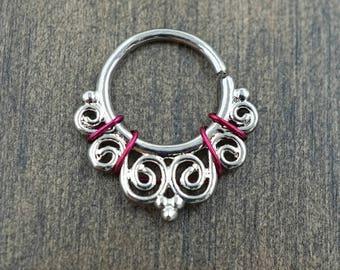 Ornate Silver Septum Ring Rose Gold Daith Piercing Rook Earring Hoop