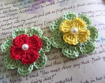 Set Of Two Crochet Flower Appliques. Handmade Crochet Flower Appliques With Assorted Center.