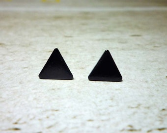 Black Triangle Stud Earrings, Dainty Earrings - 9mm