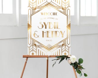 gatsby wedding welcome sign, printable welcome sign, gold and white, gatsby theme, art deco wedding, wedding printable, welcome poster