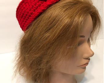 Red Hats Society hat, crochet hat,  pillbox hat, red hat, red and purple hat, purple button, ladies hat