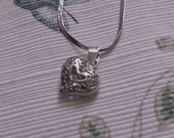 REDUCED  Sterling Open Heart Necklace on Smooth Heiringbone Chain