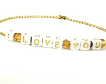 Name/sphere chain Bracelet gold plated