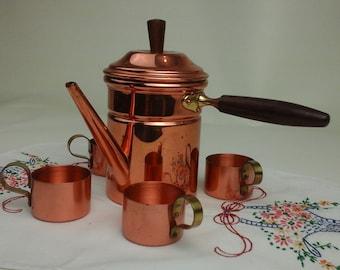 Vintage, Turkish, copper coffee set.