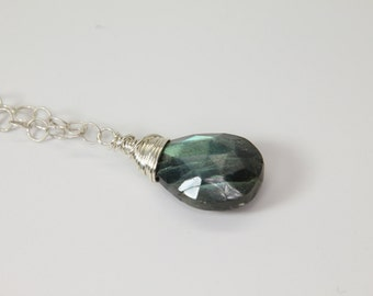 Wire-Wrapped Labradorite Pendant on Sterling Silver