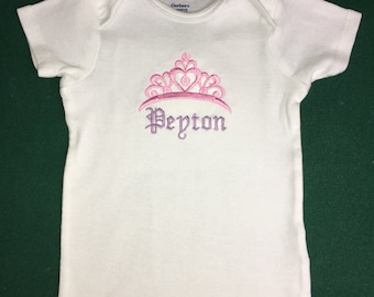 Personalized baby princess bodysuit, birthday princess t-shirt - baby shower gift, birthday t-shirt, baby girl clothes, newborn prop, gift