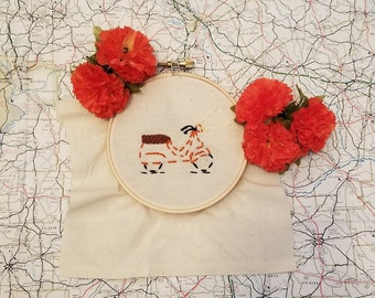 Scooter Embroidery Hoop Art