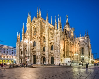 Duomo di Milano, Milan, Italy. Evening view. Romantic print, home decor