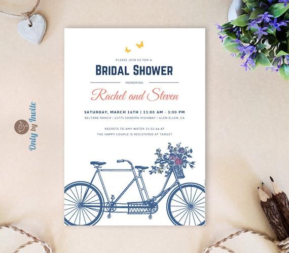 Tandem bicycle bridal shower invitations printed vintage like this item filmwisefo Choice Image