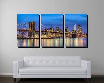 Brooklyn Bridge Manhattan Skyline, Triptych Gallery Wrapped Canvas, New York Art, New York Photography, New York Print