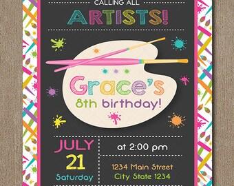 Art Birthday Invitation, Painting Party Invitation, Artist Invite, painter invitation, art invite, Painter invite, printable