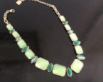 ANNE KLEIN Vintage Milky GREEN and Blue Topaz and Jadeite like Faceted Glass Costume Jewelry Women's Jewelry Vintage Costume Choker Style