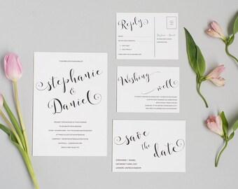Elegant Black and White Wedding Invitation and RSVP - Classic Wedding Invitation - Modern Calligraphy Wedding Invitation
