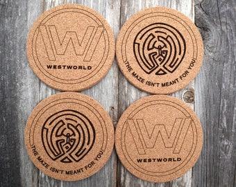 LASER engraved, Westworld , Set of 4, Natural Cork Coasters