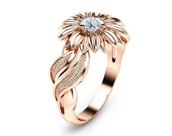 Natural Diamond Sunflower Engagement Ring 14K Rose Gold Sunflower Ring Unique Solitaire Ring Rose Gold Engagement Ring