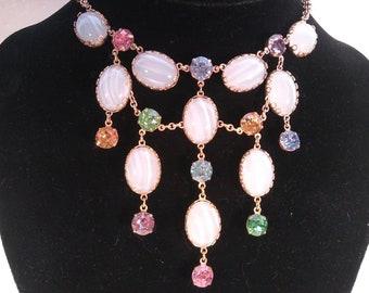 ON SALE Vintage Butler & Wilson Bib Festoon Vintage Rhinestone Necklace, Dangle Drop Statement Necklace, 1950's 1960's Wedding Bridal Jewelr