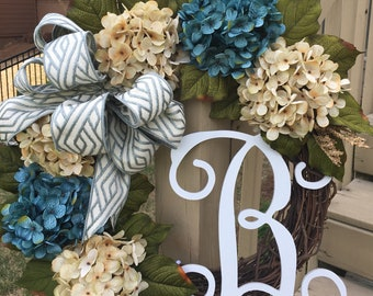 Teal and Cream French Hydrangea Monogram Letter Wreath~Aqua and Cream Wreath~Spring Front Door Decor~Mother's Day Gift~Summer color~Handmade