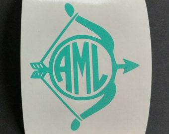 Archery Monogram Decal, Bow and Arrow Vinyl Decal, Custom Decal, Car Decal, Yeti Decal, Vinyl Sticker