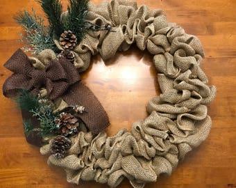 Rustic Fall/Winter Burlap Wreath