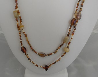 Long Station Necklace Very Long Necklace Roaring 20s Jewelry 50 Inch Necklace Flapper Necklace of Neutral Color Beads Honey Amber Rootbeer