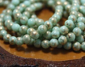 6mm Round Druk Beads, Czech Glass, 30 Beads
