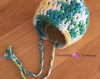 Newborn cotton bonnet.. Ready to ship.. Photography prop.. Newborn bonnet