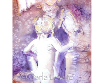 Mother and Child Watercolor painting - Giclee Print - motherhood children bath