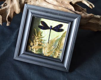 Glittering Blue Dragonfly Shadow Box