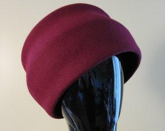 Burgundy Wool Felt Womens Toque