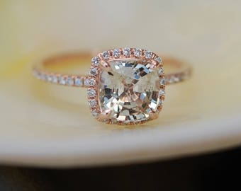 Jasmine sapphire engagement ring 3ct Square Cushion Peach Champagne sapphire 14k rose gold diamond ring engagement ring by Eidelprecious