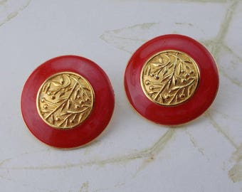 Vintage Berebi Red and Gold Round Post Earrings  6065