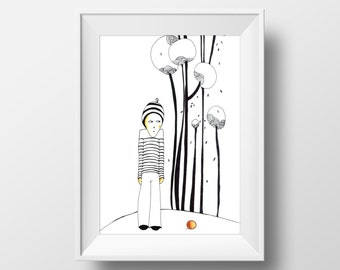 Boy, 29 x 19 cm, Instant Download, Art Deco