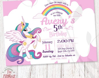 My Little Pony Celestia Invitation - Birthday Invite  - DIGITAL FILE