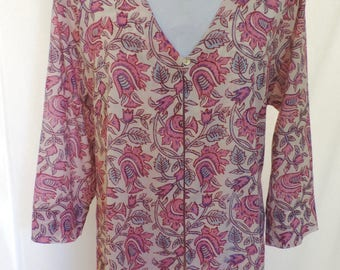 Cotton voile loose jacket block printed fabric