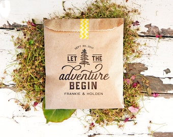 Let the Adventure Begin - Custom Wedding Favor Bag - Trail Mix, Mountain, Camping, Yosemite, Hiking, Woods - 20 Kraft Bags