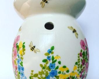 Hand decorated wax burner - oil burner, home fragrance, wax melts.