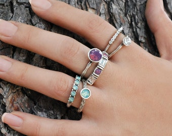 Stacking Rings, Ring Set, Silver Stack Rings, Gypsy Rings, Crystal Rings, Set of Rings, Stackable Rings, Boho Rings, Stone Rings R1120
