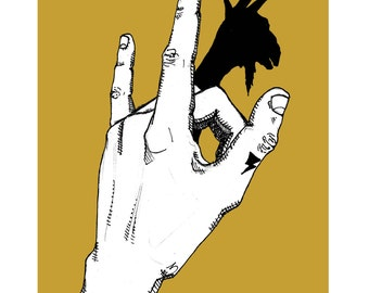 Goat Shadow Puppet print / satan mustard yellow