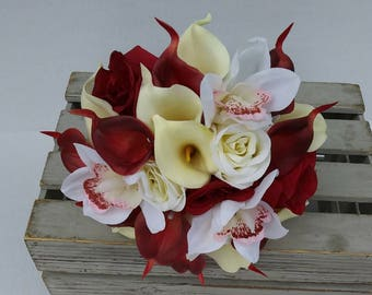 Modern Wedding Flowers,  Classic,Holiday, Winter, Wedding Bouquet, Bridal Bouquet, Romanic Red Roses, White roses , Calla lilies, Orchids