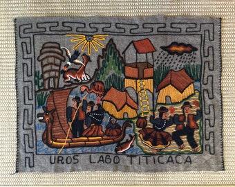 Wool Tapestry Uros Islands, Lago Titicaca, Peru Crewel Embroidered Weaving