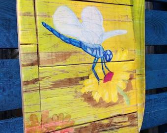 Garden Dragonfly Original Handmade recycled Wood Art
