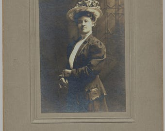 Photo of Proud Woman with Fancy Hat Circa 1916