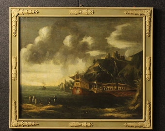 Antique Italian seascape painting of the 18th century
