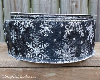 "Christmas Wired Ribbon, 2 1/2"" wide,  Black Sheer Silver Glitter Snowflakes - THREE YARDS -  ""Midnight Snow"" Craft Wire Edged Ribbon"