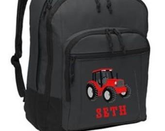 FREE SHIPPING - Tractor Farm Backpack    Personalized Monogrammed Backpack Book Bag school tote  - NEW