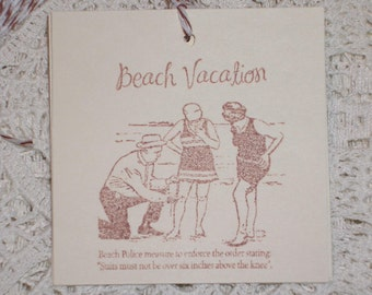 Beach Vacation - Vintage Bathers at the Beach Gift Tags - Set of Six