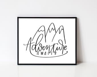 Adventure Awaits printable wall art - instant download