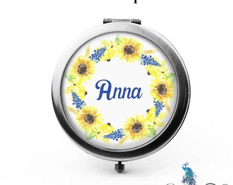 Personalized Compact Mirror Watercolor Style Sunflowers Flower Wreath The Anna Bridesmaid Gifts Cosmetic Mirror Gifts for Her Purse Mirror