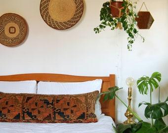 Antique Turkoman Rug Lumbar Pillow, Rug Pillow, Kilim Pillow, Lumbar Pillow, Antique Rug Cushion, Kilim Cushion, Bolster Pillow
