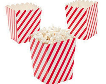 24 Mini red and white Diagonal striped popcorn boxes treat favors
